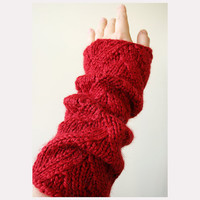 Fall Fashion - Alpaca and Silk Long Fingerless Gloves - Warm Gauntlets - Red Color
