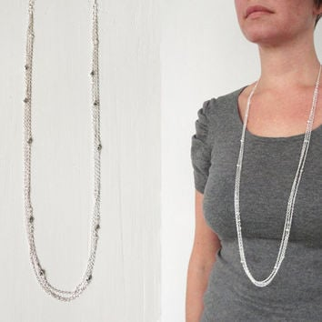 Long layered necklace silvery glass beads sparkly chains necklace elegant minimalist