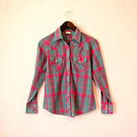 Vintage. 80&#x27;s. Women&#x27;s Cowgirl Style Blouse. Top. Western. Button Up Shirt. Plaid. Purple. Pink. Teal. Green. Boho. Country. Medium. M.
