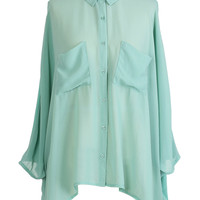 Mint Double Pockets Shirt - New Arrivals - Retro, Indie and Unique Fashion