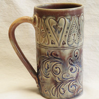 ceramic floral & hearts coffee mug 20oz stoneware 20B022