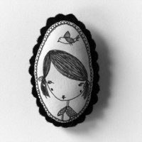 Girl with flying bird - b&w handcrafted and illustrated brooch felt