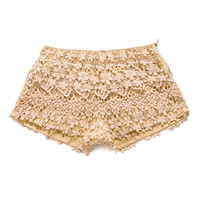Floral Crochet Shorts in Peach - New Arrivals - Retro, Indie and Unique Fashion