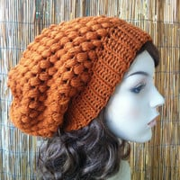 Crochet womens Slouchy beanie hat , girls Back to School Fall Fashion, READY TO SHIP
