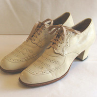 Vintage 1940s Oxfords Granny Lace-Up Shoes 