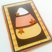Halloween Card Candy Corn Black, Orange, Yellow, White