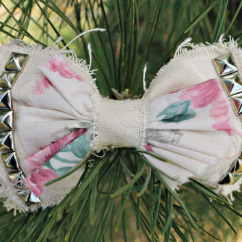 Studded Floral Canvas Bow