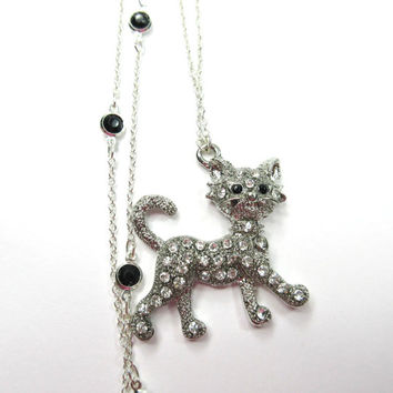 Silver Kitty Necklace with Clear and Black Crystals