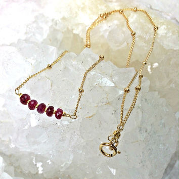 Ruby Gemstone Bar Necklace Layering Delicate Minimal Stacking Necklace Sterling Silver 14k Gold Filled Chain Gift For Her