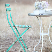 A Pair of Vintage French Green Bistro Chairs