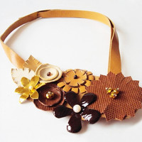 Statement Bib Necklace, Leather Necklace Honey Brown Gold Flowers, Asymmetrical Necklace, Leather Jewelry, Autumn Fashion