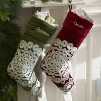Velvet Medallion Embroidered Stocking