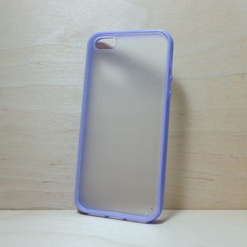 Silicone Bumper and Translucent Frosted Hard Plastic Back Case for iPhone 5 / 5S - Purple