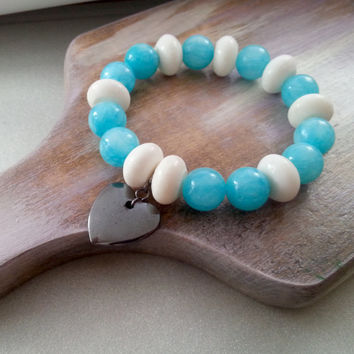 Blue jade stone and white coral stretch bracelet hematite heart pendant great gift for her