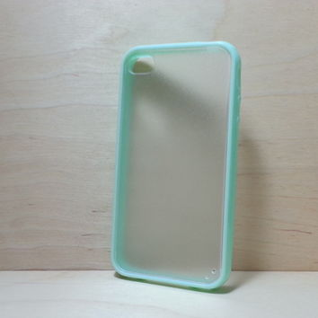 Silicone Bumper and Translucent Frosted Hard Plastic Back Case for iPhone 4 / 4S - Mint Green