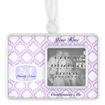 Duo-tone Moroccan Trellis (Lilac) Silver Plated Framed Ornament