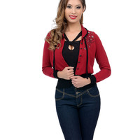 Burgundy Button Up Swallow Embroidery Annabelle Cardigan
