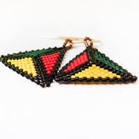 Jamaica. Geometric dangle earrings. Neon yellow, red, green triangle shapes, seed beads jewelry
