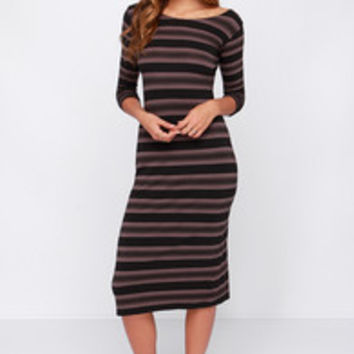 O'Neill Aries Taupe and Black Striped Midi Dress