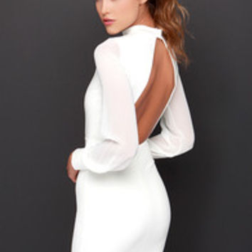 LULUS Exclusive Sleeve to Chance Ivory Long Sleeve Dress