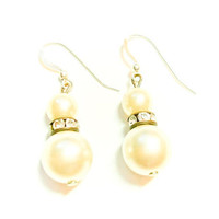 One For the Bride Earrings-Vintage Pearl and crystal with Sterling Silver