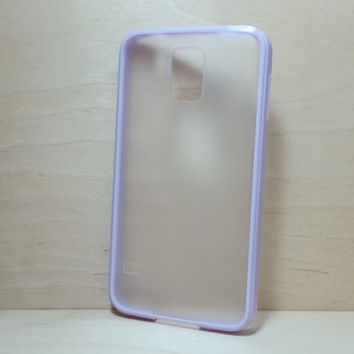 Silicone Bumper and Translucent Frosted Hard Plastic Back Case for Samsung Galaxy S5 - Lilac