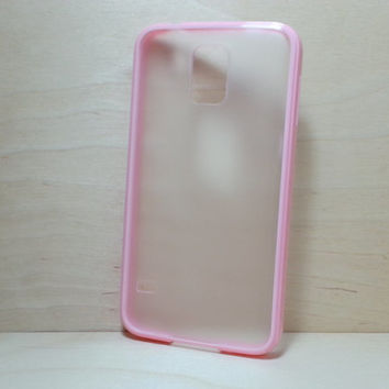Silicone Bumper and Translucent Frosted Hard Plastic Back Case for Samsung Galaxy S5 - Light Pink