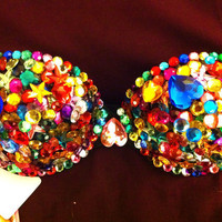 Gorgeous RAINBOW Sexy Rave Bra Costume Burlesque Sequin Rhinestone Bling Bra