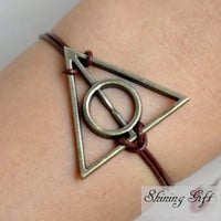 Antique Brass Harry potter Deathly Hallows Bracelet, Real Leather Bracelet