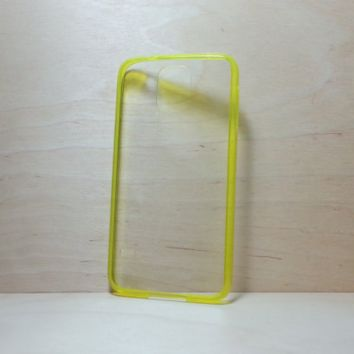 Silicone Bumper and Clear Hard Acrylic Back Case for Samsung Galaxy S5 - Yellow