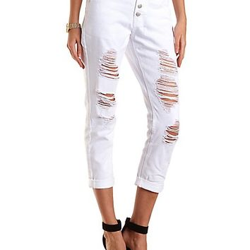 """Refuge """"Boyfriend"""" White Cropped Jeans by Charlotte Russe - White"""