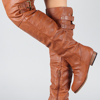 Buckle Riding Thigh High Boot