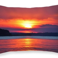 "Ocean View Sunset Throw Pillow 20"" x 14"""