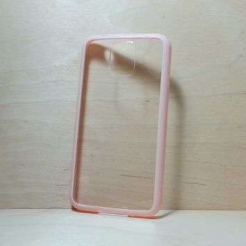 Silicone Bumper and Clear Hard Plastic Back Case for Samsung Galaxy S5 - Light Pink
