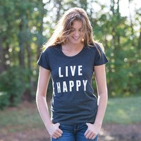 Medium  Black  Live  Happy  Statement  Tee  From  Natural  Life