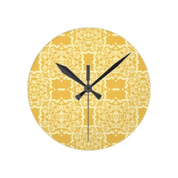 Quatrefoil Damask (Yellow) Wallclock