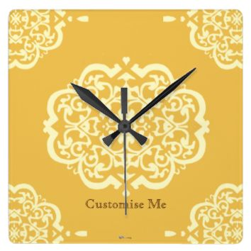 Quatrefoil Damask (Yellow) Clocks