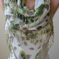Green and Brown -  Silk - Chiffon Scarf with Green Trim Edge