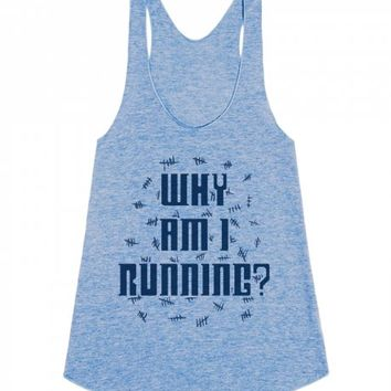 Why Am I Running?-Female Athletic Blue Tank