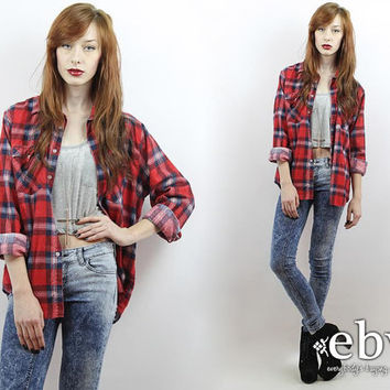 Vintage 90s Red Plaid Flannel Shirt S M L Oversized Flannel Shirt 90s Grunge Shirt 90s Flannel Shirt Red Plaid Shirt Red Flannel Shirt