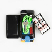 Iphone 5/5s/5c Storage Case and Pill Organizer Pocketbuddy - Retail Packaging - Color Black