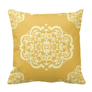 Quatrefoil Damask (Yellow) Throw Pillow