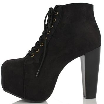 Speed Limit 98 Women's Rosa Faux Suede Lace Up Chunky High Heel Ankle Bootie