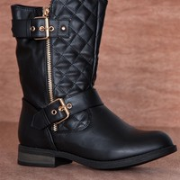Urban Cowboy Quilted Double Buckle Zipper Moto Boots SEVILLA-19 - Black