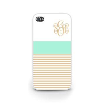 Mint and Cream Stripes Monogrammed Case for iPhone