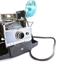 Vintage Polaroid Automatic 100 Land Camera - 1960s Photography with Original Instructions & Flash Attachment / Paparazzi