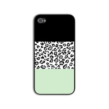 Mint and Leopard Color Block Case for iPhone