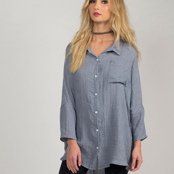 Soft Oversized Button Up Top - Small - Blue /