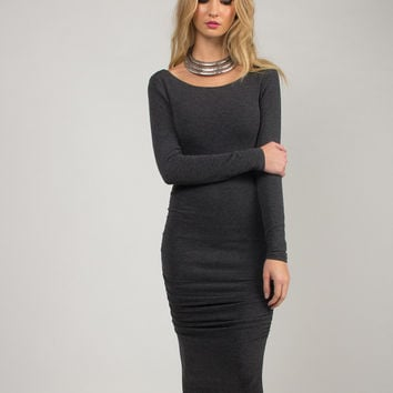 Ruched 3/4 Sleeve Dress - Charcoal /