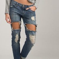 Cuffed Holey Boyfriend Jeans - Blue Denim /